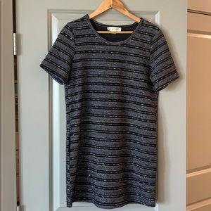 Navy and black with gold stitching shift dress